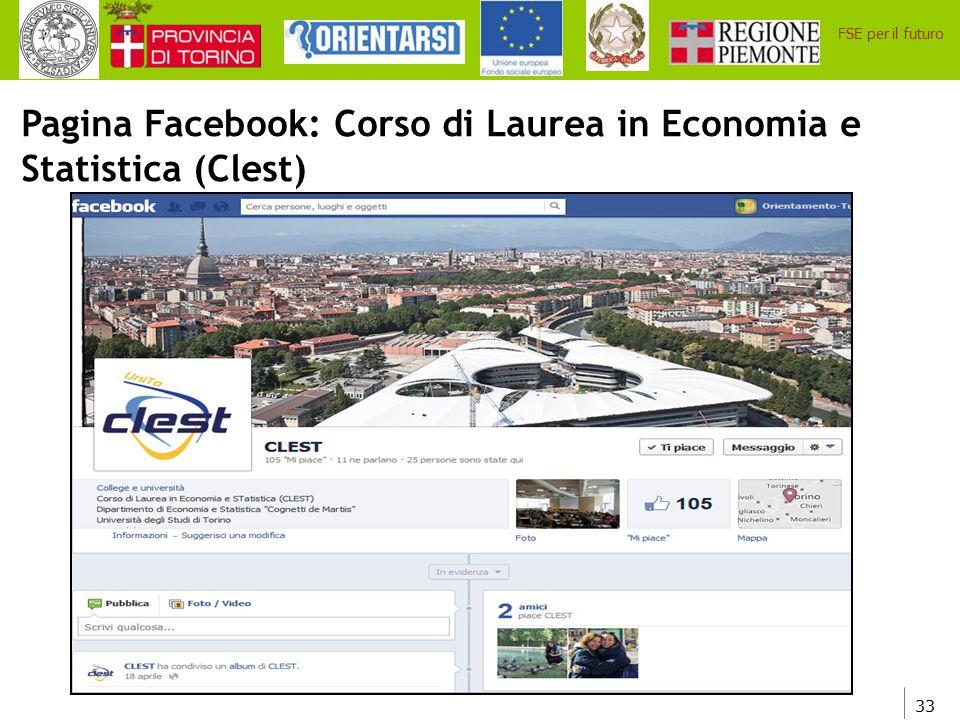 Pagina Facebook: Corso di Laurea in Economia e Statistica (Clest)