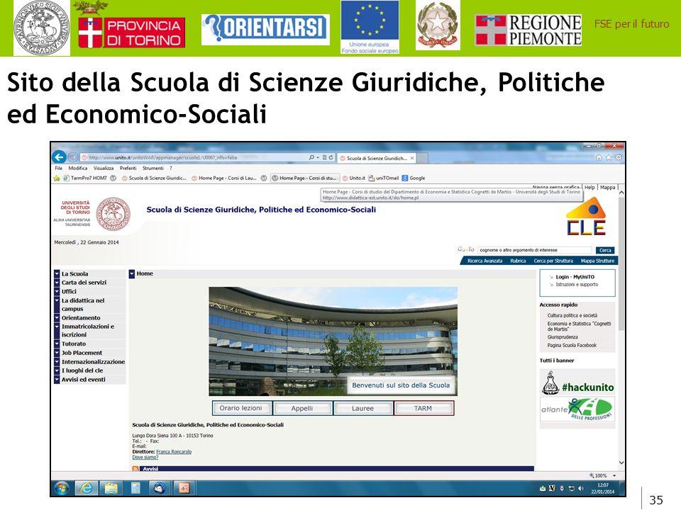 Sito della Scuola di Scienze Giuridiche, Politiche ed Economico-Sociali