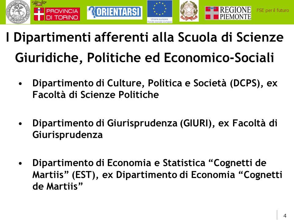 I Dipartimenti afferenti alla Scuola di Scienze Giuridiche, Politiche ed Economico-Sociali