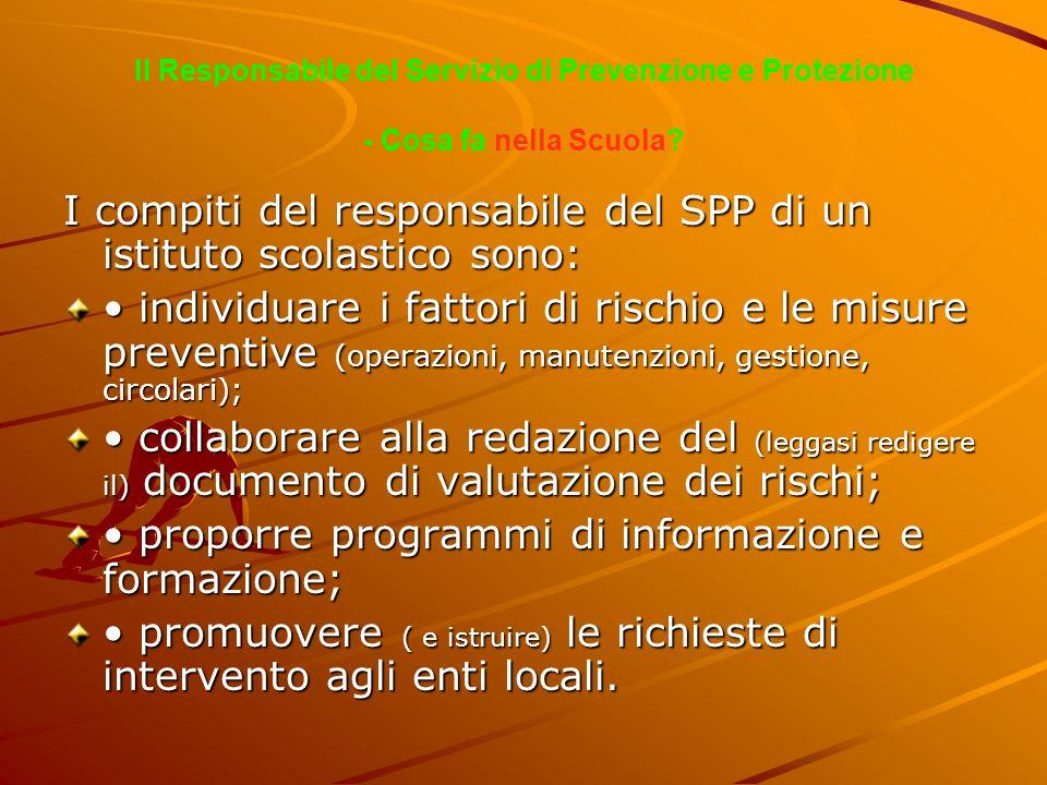 I compiti del responsabile del SPP di un istituto scolastico sono: