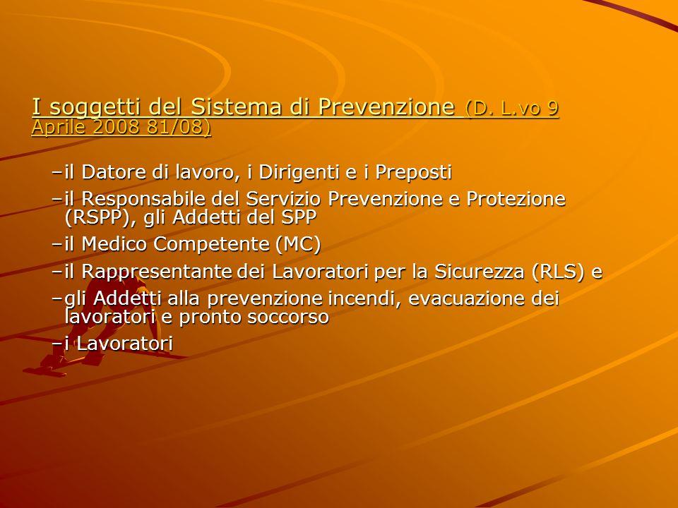 I soggetti del Sistema di Prevenzione (D. L.vo 9 Aprile 2008 81/08)