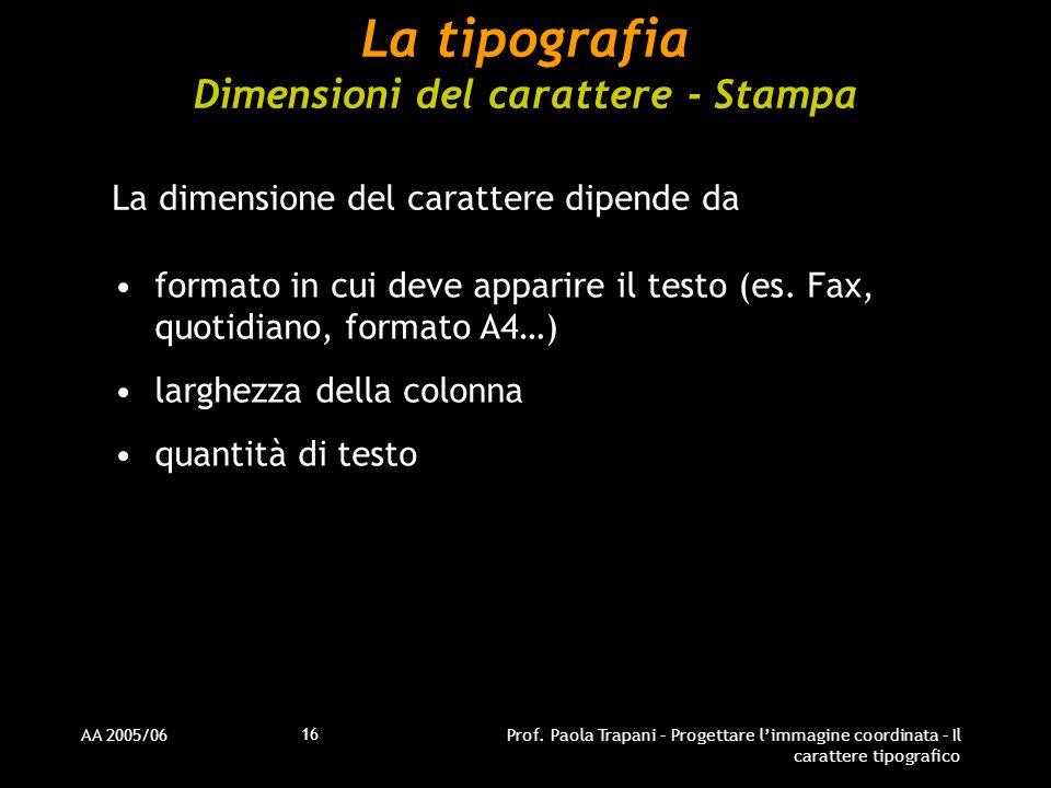 La tipografia Dimensioni del carattere - Stampa