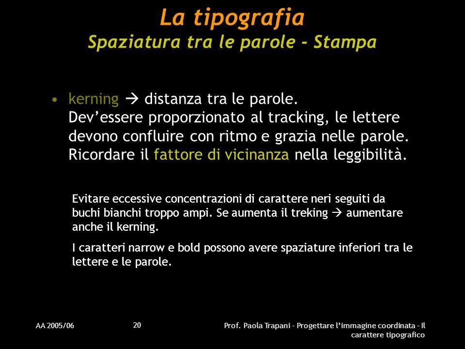 La tipografia Spaziatura tra le parole - Stampa