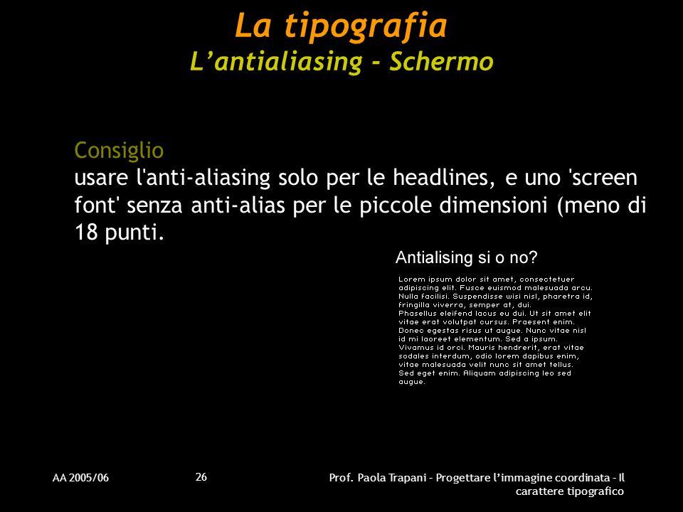 La tipografia L'antialiasing - Schermo
