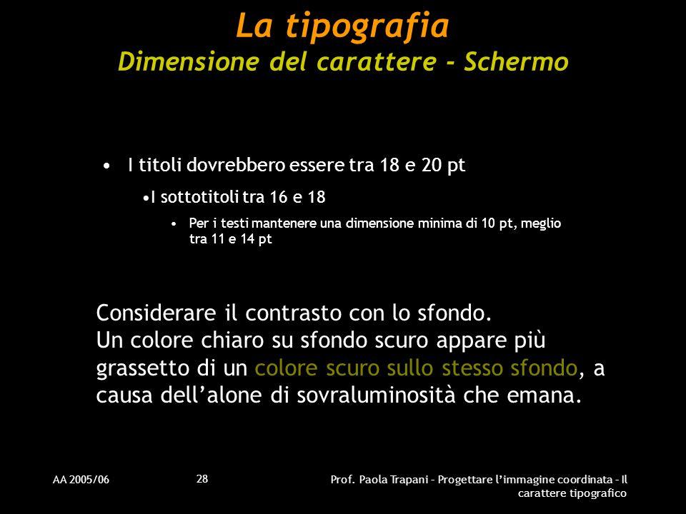 La tipografia Dimensione del carattere - Schermo