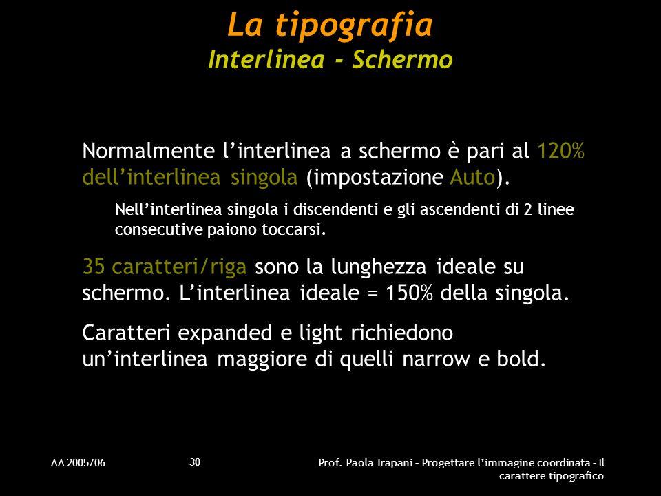 La tipografia Interlinea - Schermo