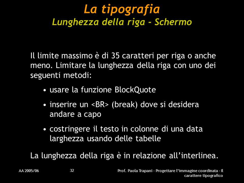 La tipografia Lunghezza della riga - Schermo