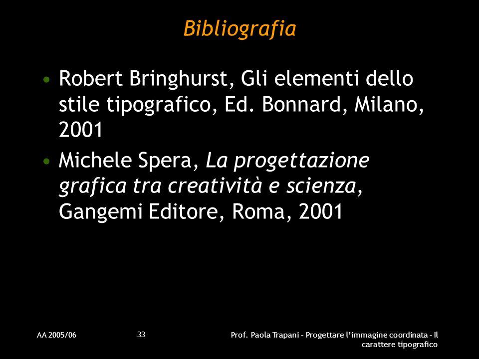 Bibliografia Robert Bringhurst, Gli elementi dello stile tipografico, Ed. Bonnard, Milano, 2001.