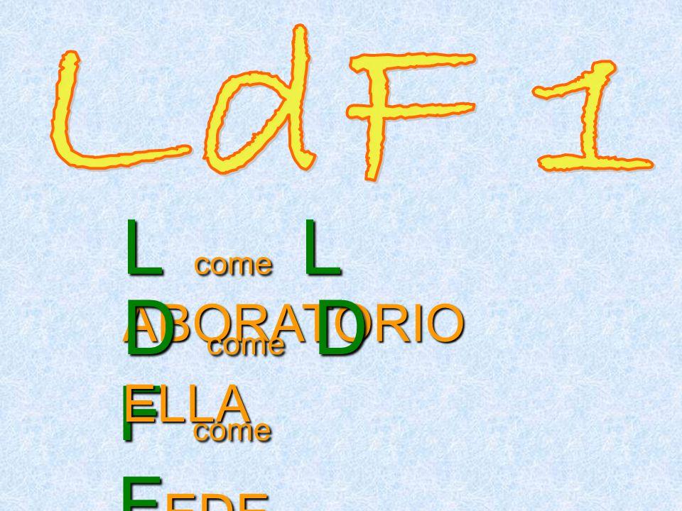 LdF 1 L come L ABORATORIO D come D ELLA F come FEDE
