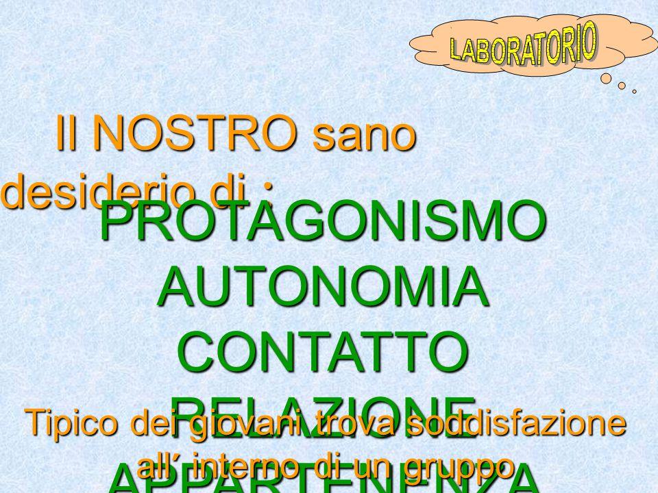 PROTAGONISMO AUTONOMIA CONTATTO RELAZIONE APPARTENENZA DIVERTIMENTO