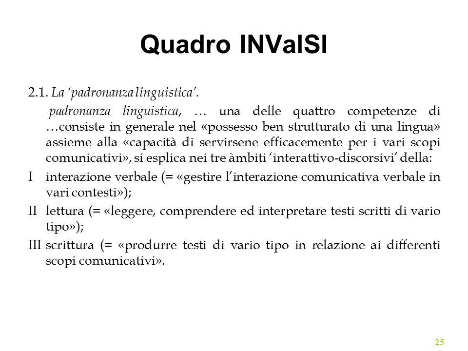 Quadro INValSI 2.1. La 'padronanza linguistica'.