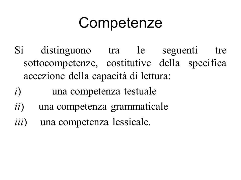 Competenze Si distinguono tra le seguenti tre sottocompetenze, costitutive della specifica accezione della capacità di lettura: