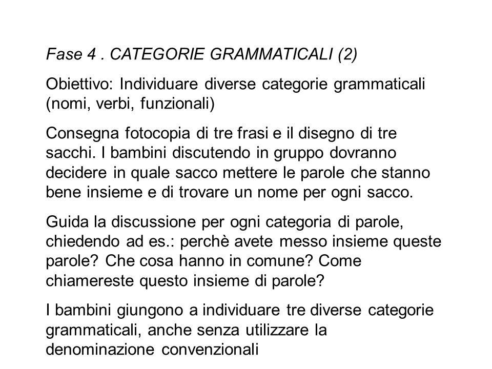 Fase 4 . CATEGORIE GRAMMATICALI (2)