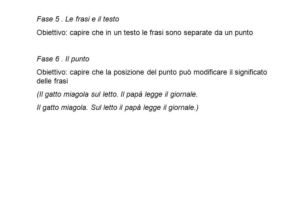 Fase 5 . Le frasi e il testo Obiettivo: capire che in un testo le frasi sono separate da un punto. Fase 6 . Il punto.