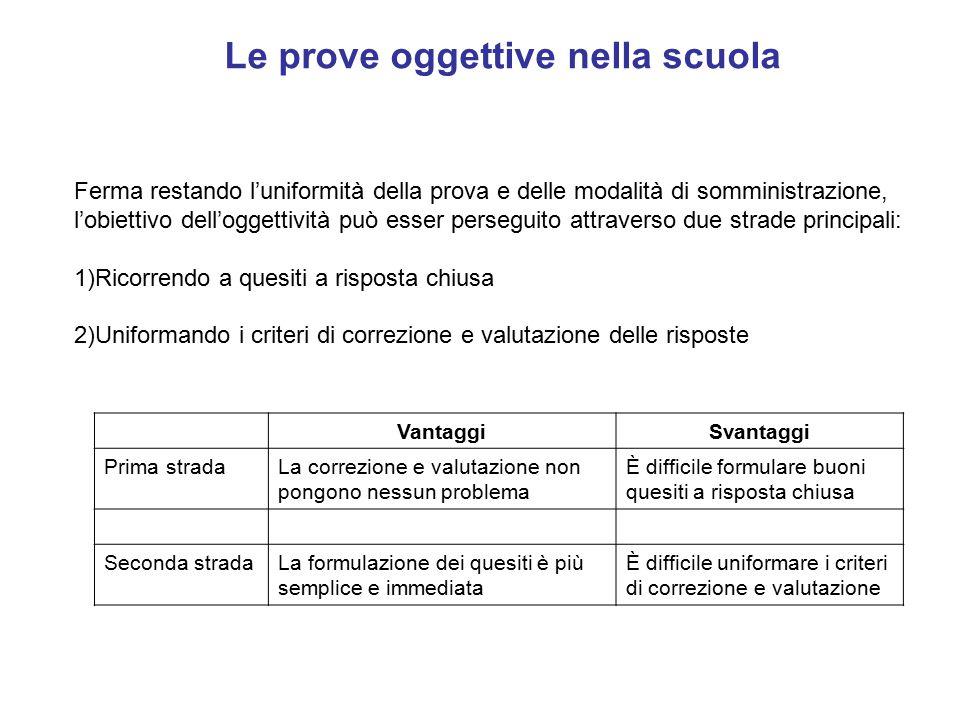 Le prove oggettive nella scuola