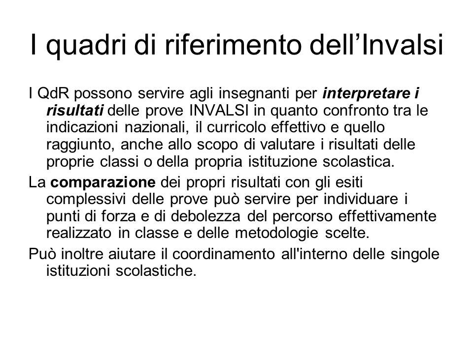 I quadri di riferimento dell'Invalsi
