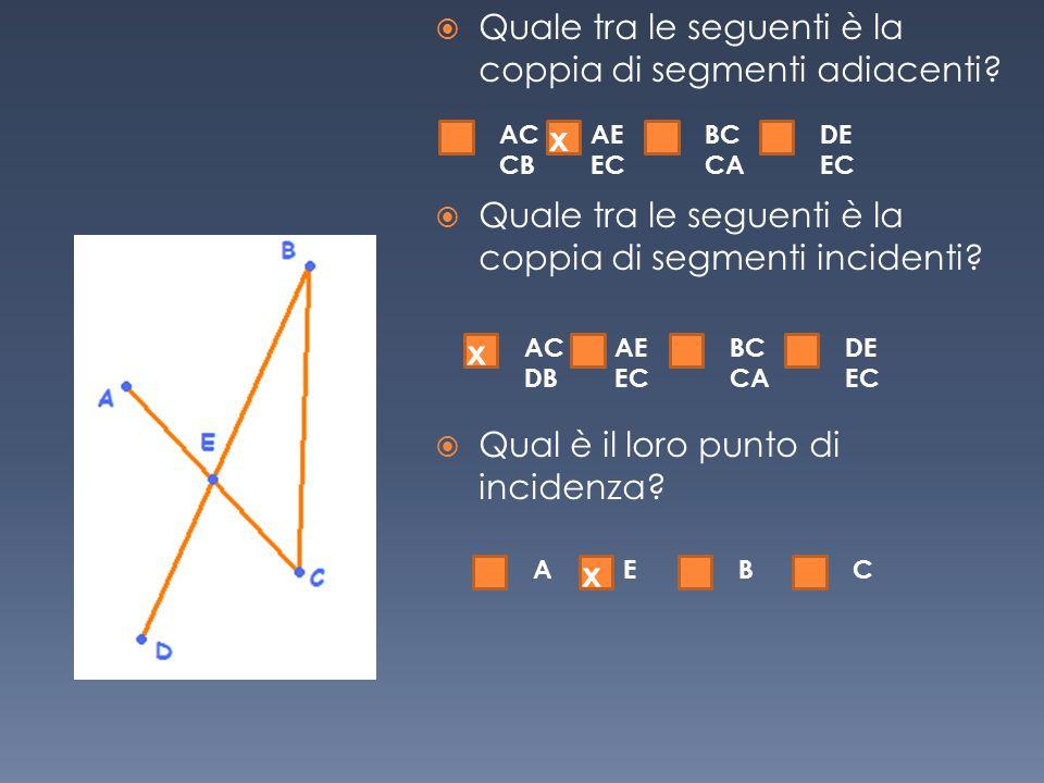 Quale tra le seguenti è la coppia di segmenti adiacenti