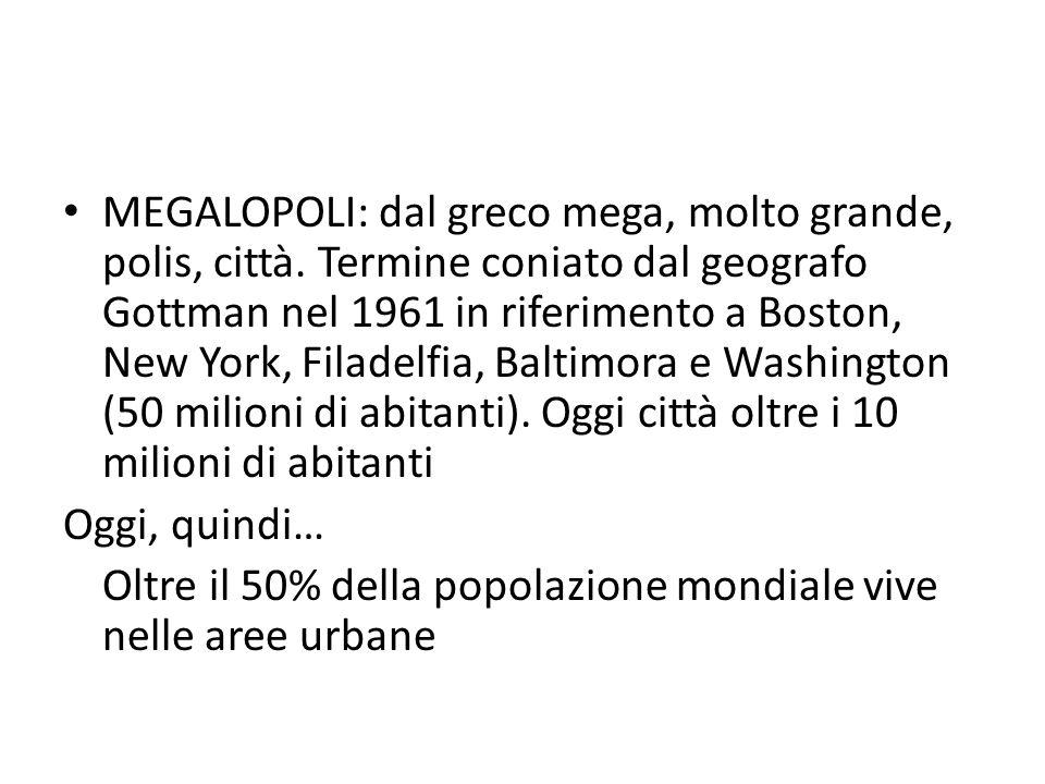 MEGALOPOLI: dal greco mega, molto grande, polis, città