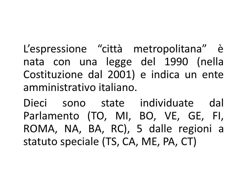L'espressione città metropolitana è nata con una legge del 1990 (nella Costituzione dal 2001) e indica un ente amministrativo italiano.