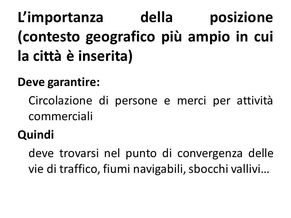 L'importanza della posizione (contesto geografico più ampio in cui la città è inserita)