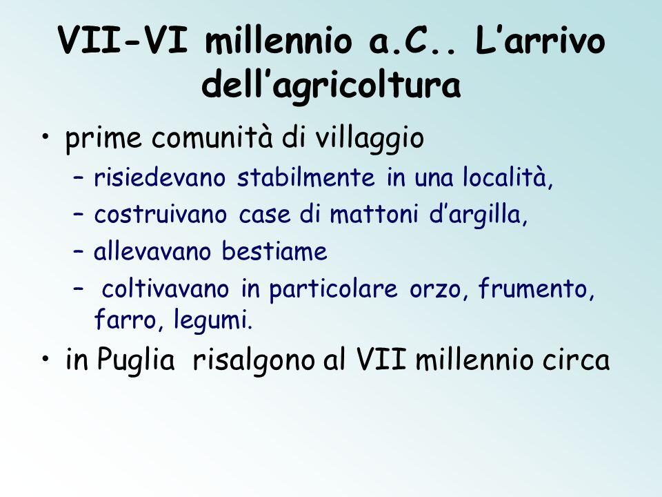 VII-VI millennio a.C.. L'arrivo dell'agricoltura