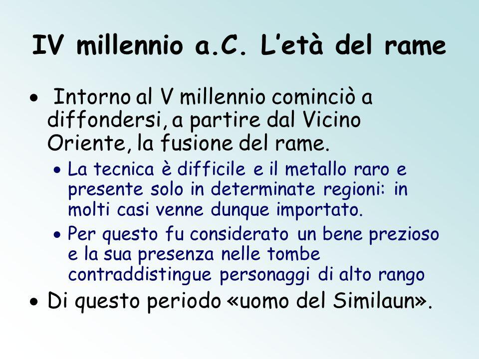 IV millennio a.C. L'età del rame