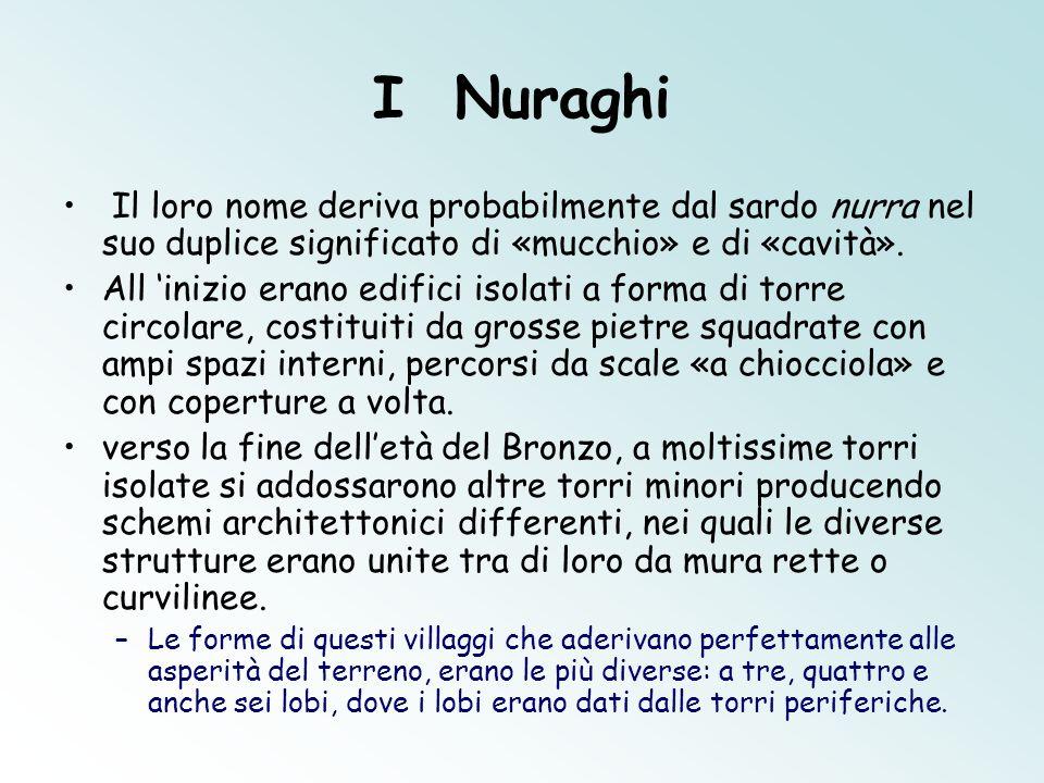I Nuraghi Il loro nome deriva probabilmente dal sardo nurra nel suo duplice significato di «mucchio» e di «cavità».
