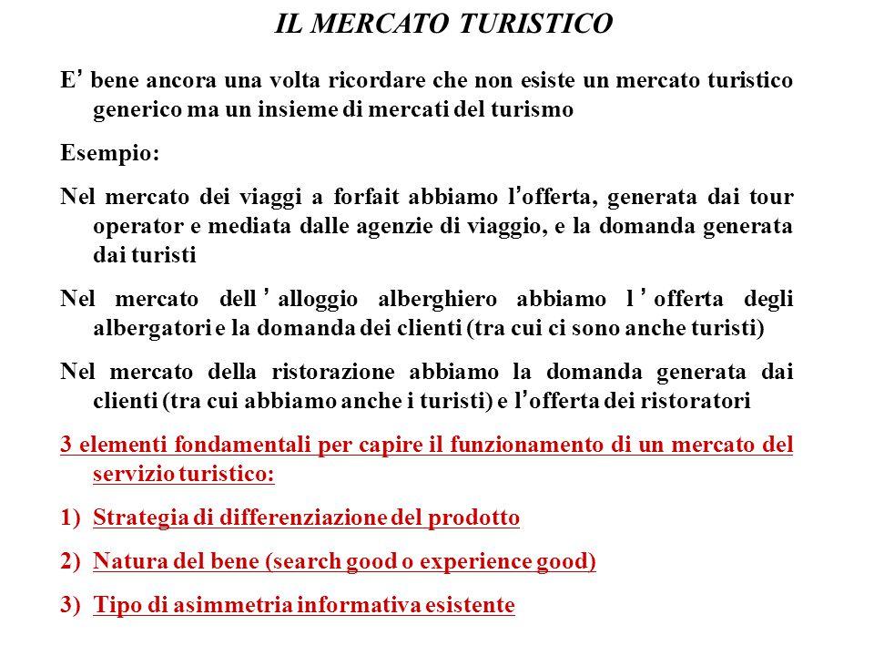 IL MERCATO TURISTICO E' bene ancora una volta ricordare che non esiste un mercato turistico generico ma un insieme di mercati del turismo.