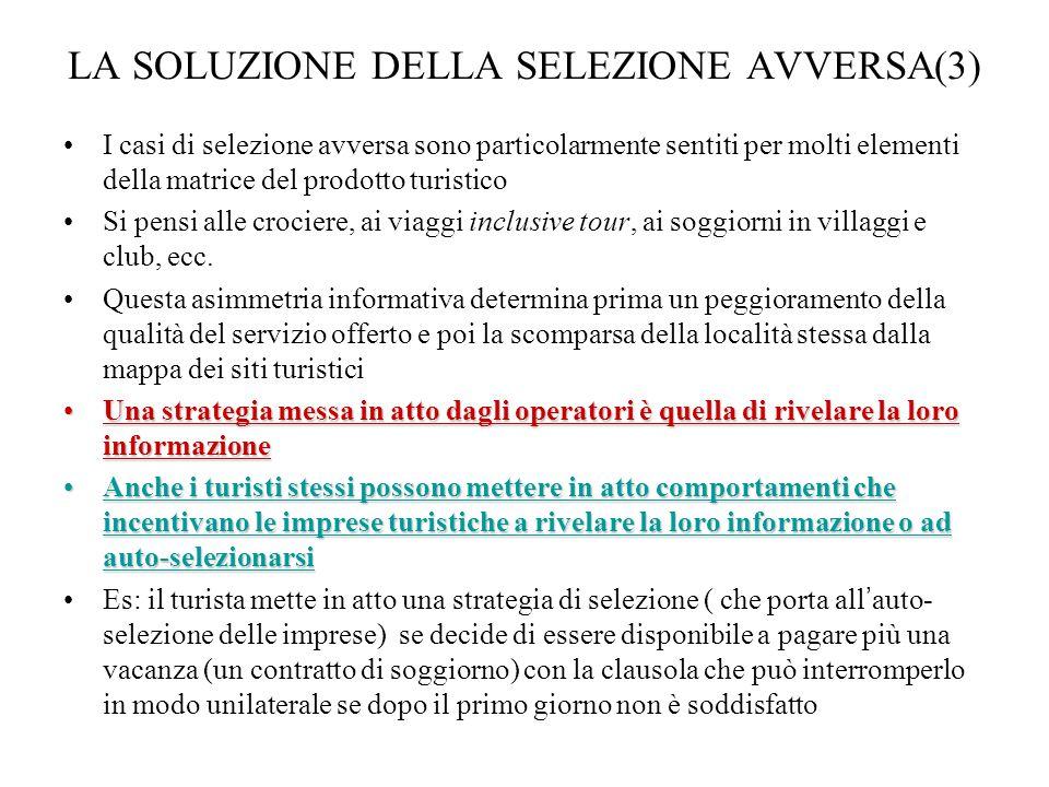 LA SOLUZIONE DELLA SELEZIONE AVVERSA(3)