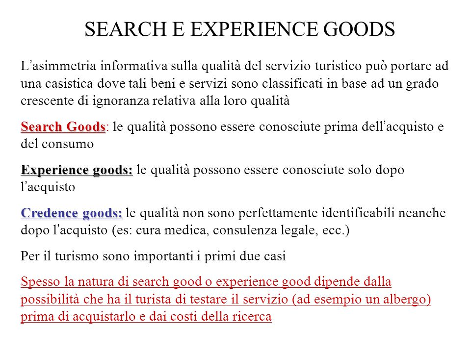 SEARCH E EXPERIENCE GOODS