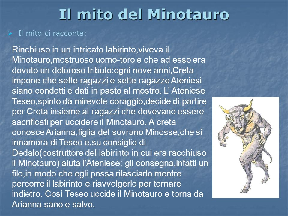 Il mito del Minotauro Il mito ci racconta: