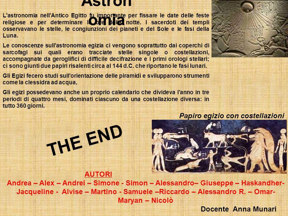 THE END Astronomia Papiro egizio con costellazioni AUTORI