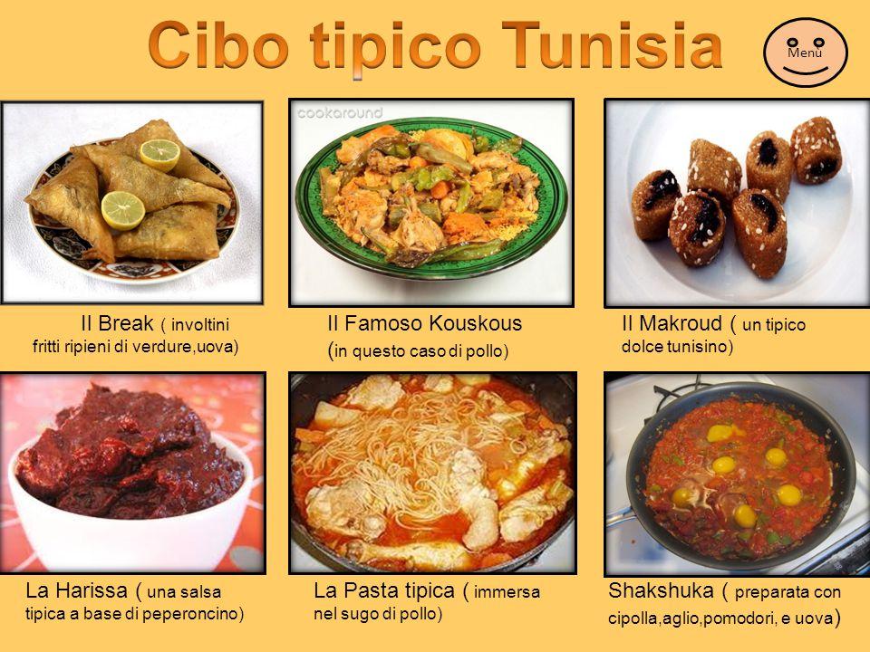 Cibo tipico Tunisia Menù. Il Break ( involtini fritti ripieni di verdure,uova) Il Famoso Kouskous (in questo caso di pollo)