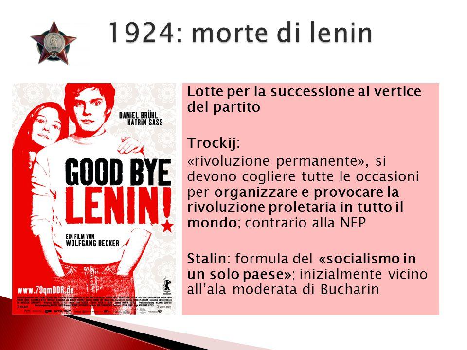 1924: morte di lenin Lotte per la successione al vertice del partito