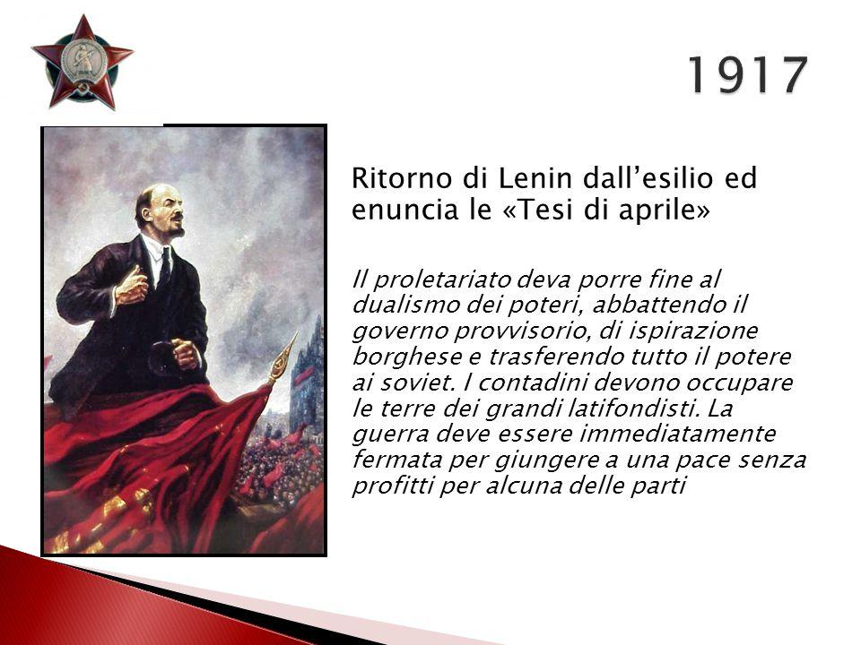 1917 Ritorno di Lenin dall'esilio ed enuncia le «Tesi di aprile»