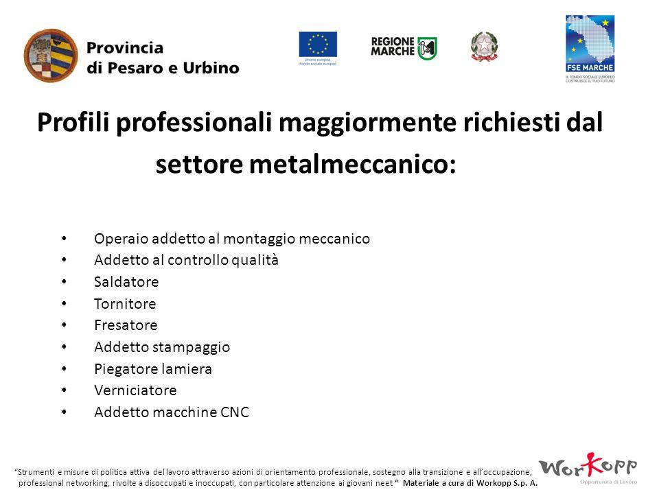 Profili professionali maggiormente richiesti dal settore metalmeccanico: