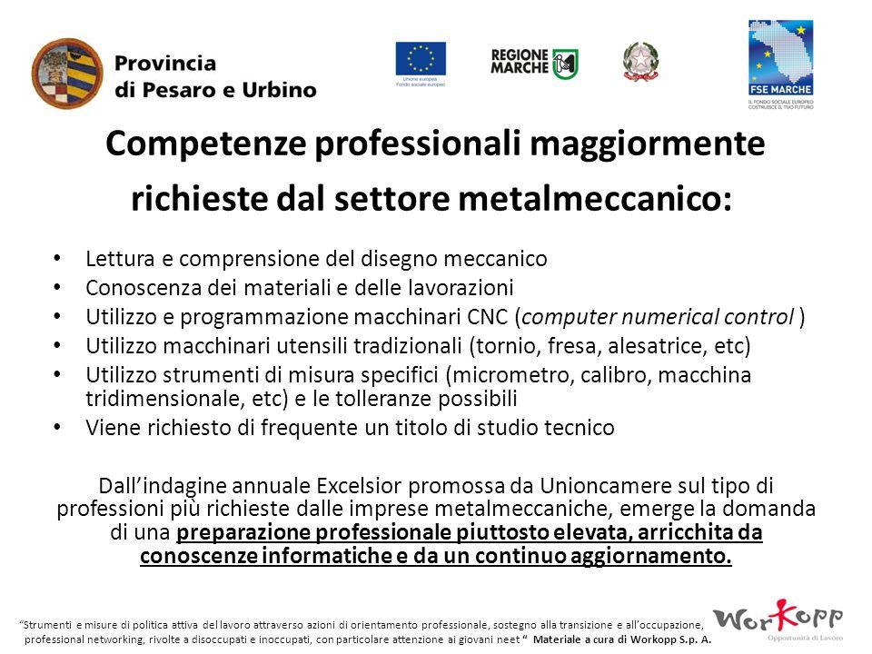 Competenze professionali maggiormente richieste dal settore metalmeccanico: