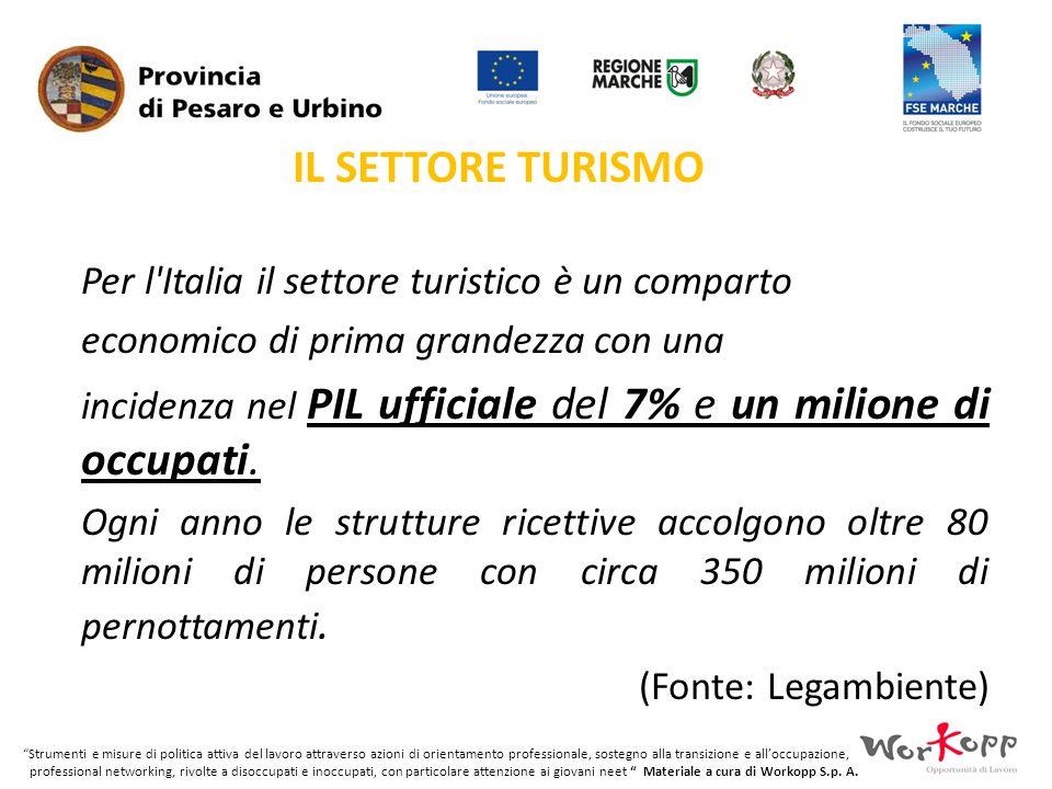 IL SETTORE TURISMO Per l Italia il settore turistico è un comparto