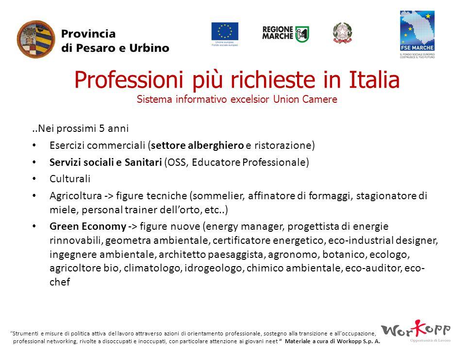 Professioni più richieste in Italia Sistema informativo excelsior Union Camere
