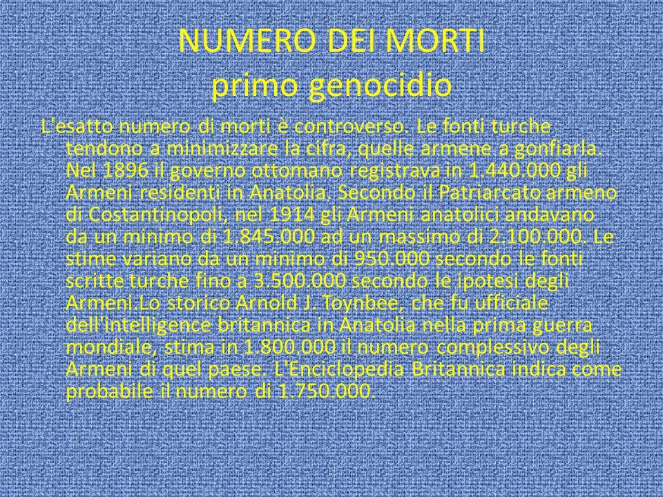 NUMERO DEI MORTI primo genocidio