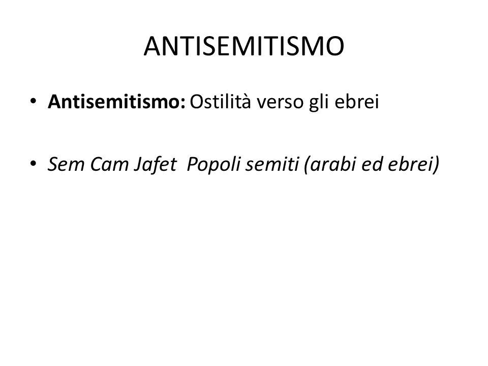 ANTISEMITISMO Antisemitismo: Ostilità verso gli ebrei