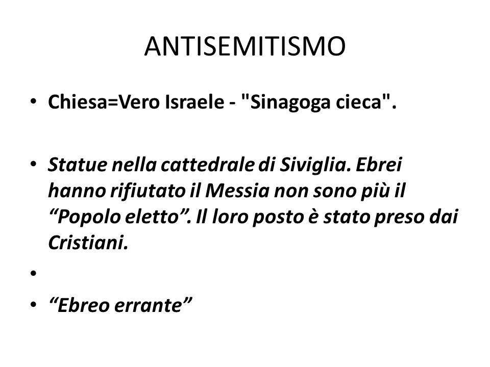 ANTISEMITISMO Chiesa=Vero Israele - Sinagoga cieca .