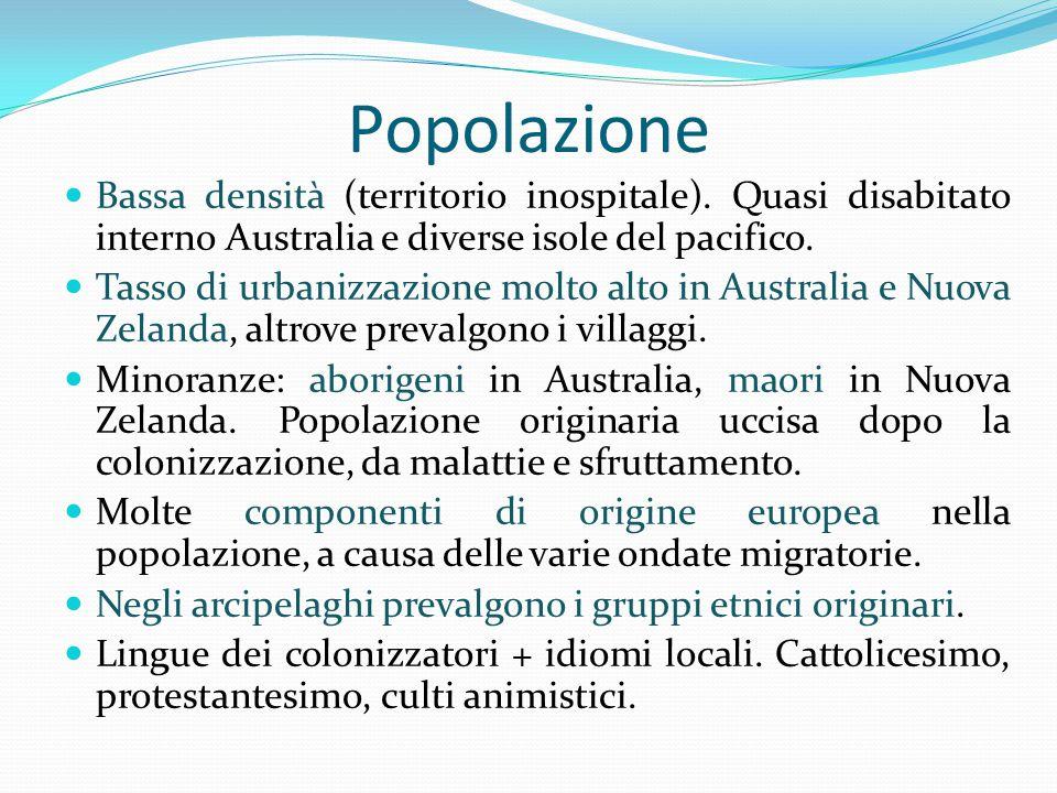 Popolazione Bassa densità (territorio inospitale). Quasi disabitato interno Australia e diverse isole del pacifico.