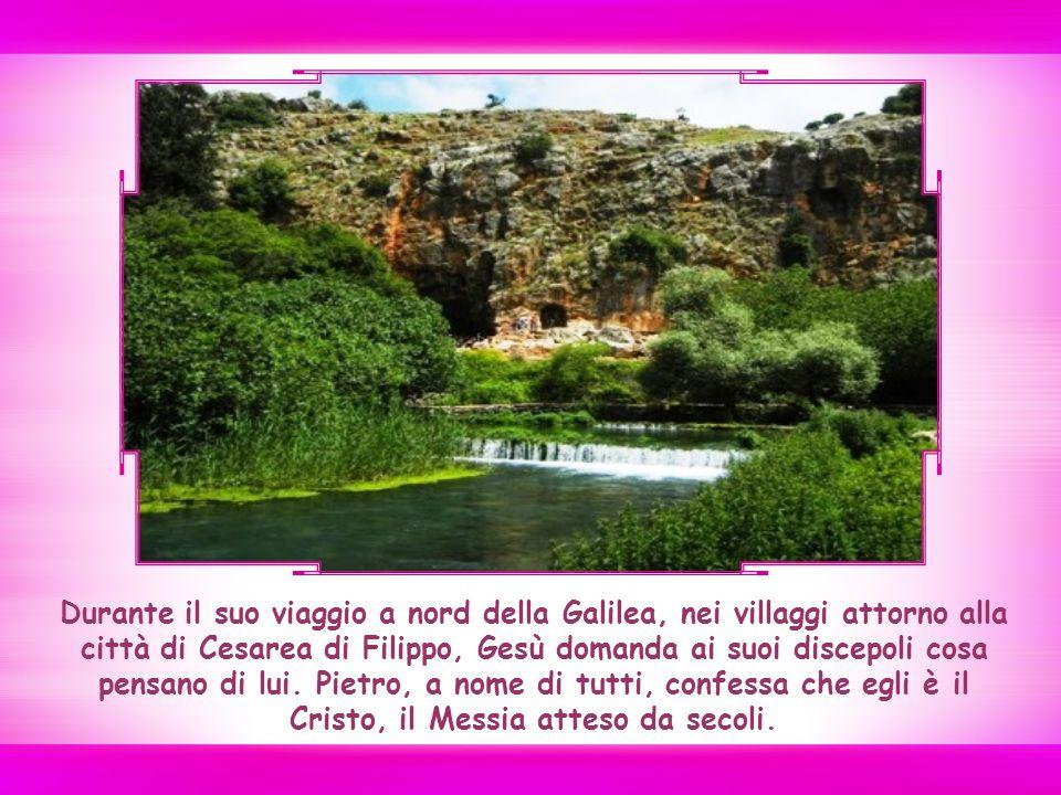 Durante il suo viaggio a nord della Galilea, nei villaggi attorno alla città di Cesarea di Filippo, Gesù domanda ai suoi discepoli cosa pensano di lui.