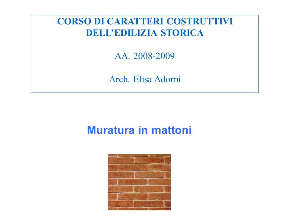 CORSO DI CARATTERI COSTRUTTIVI DELL'EDILIZIA STORICA