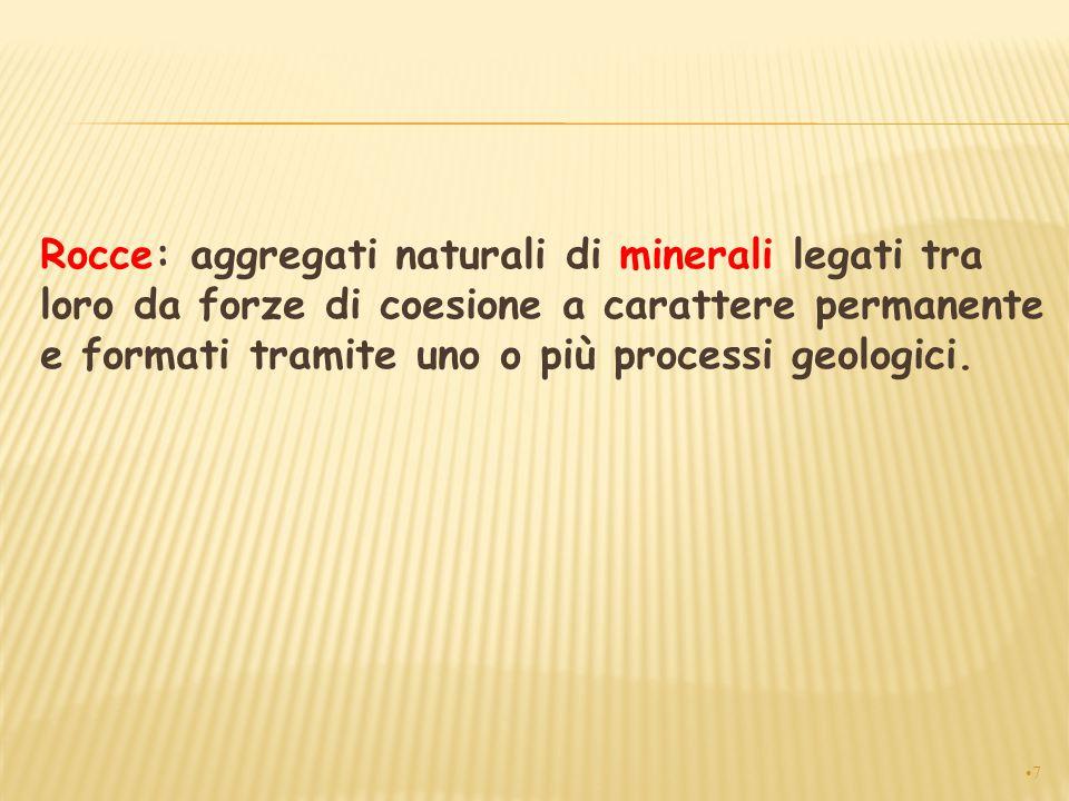 Rocce: aggregati naturali di minerali legati tra loro da forze di coesione a carattere permanente e formati tramite uno o più processi geologici.