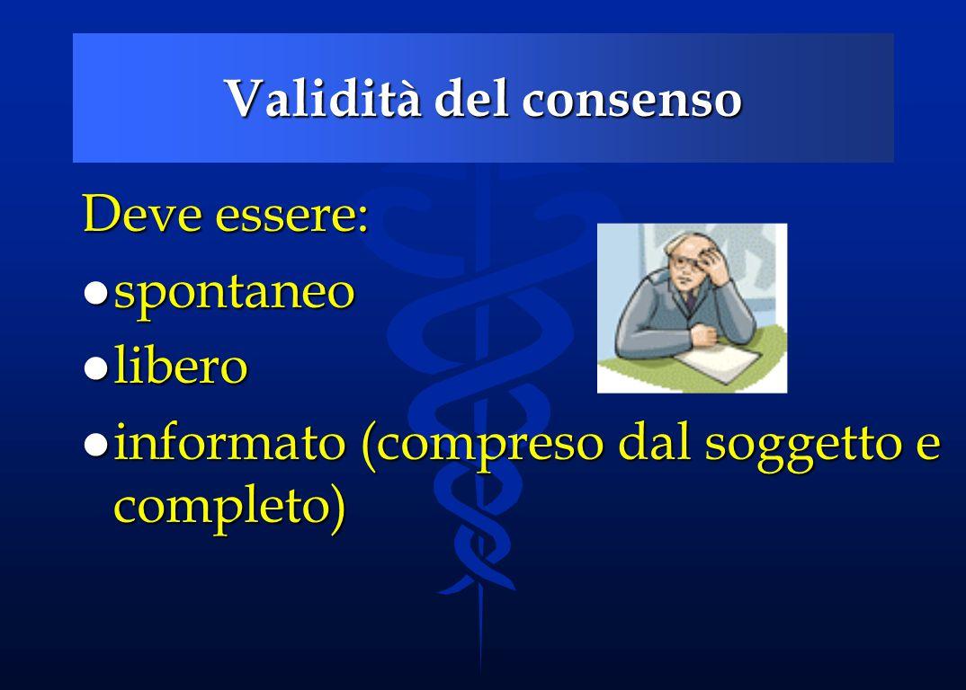 Validità del consenso Deve essere: spontaneo libero informato (compreso dal soggetto e completo)
