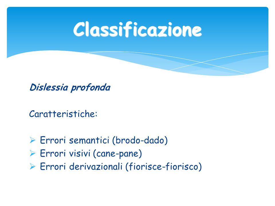 Classificazione Dislessia profonda Caratteristiche: