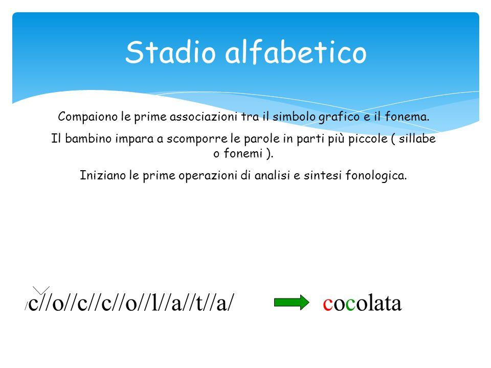 Stadio alfabetico Compaiono le prime associazioni tra il simbolo grafico e il fonema.