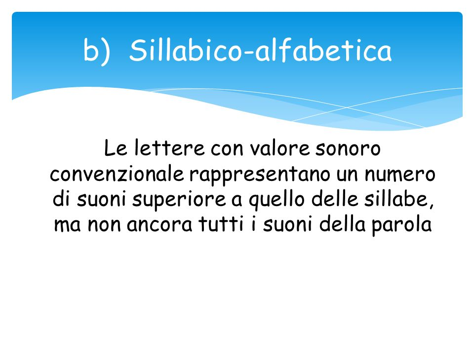 b) Sillabico-alfabetica